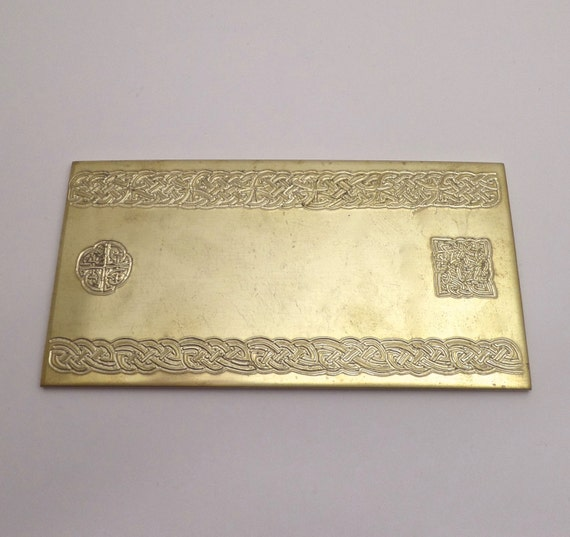 "Celtic Rolling Mill Texture Embossing Plate 3"" x 6"" BRASS Texture Plate for Rolling Mill or Hammering 8 Gauge Thick Made in USA"