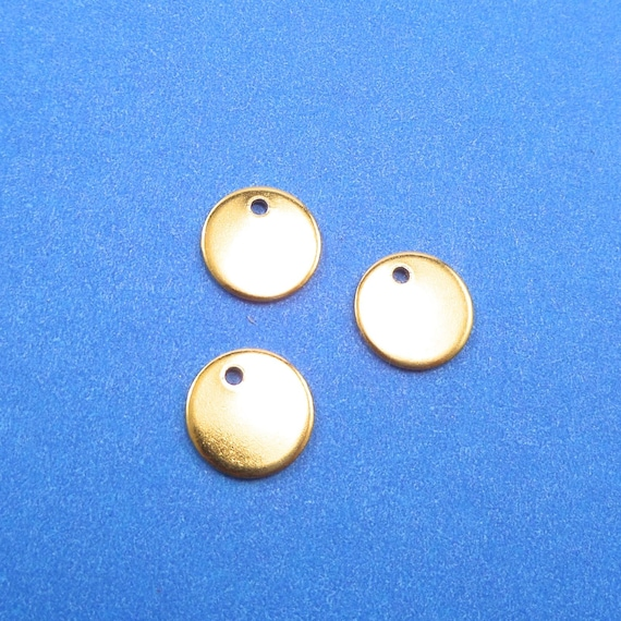 10 Brass Circle Disc Charms 18 Gauge Thick 1/2 with 1.5 mm Hole Tumble Polished- Lead Free
