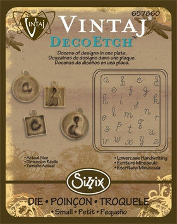 SALE - Vintaj DecoEmboss Die Lower Case Handwriting 2 3/8x2 5/8""