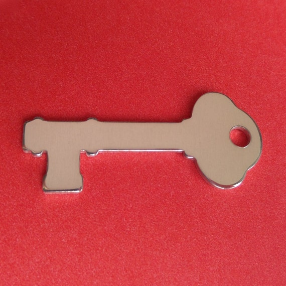 "4 Skeleton Key Charm Blanks  2"" x 7/8"" Polished With 4mm Hole 14 Gauge thick 3003 Aluminum"