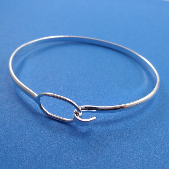 Silver Plated Clasp Bangle 63 x 50 x 3mm Silver Plated Brass - Lead Free