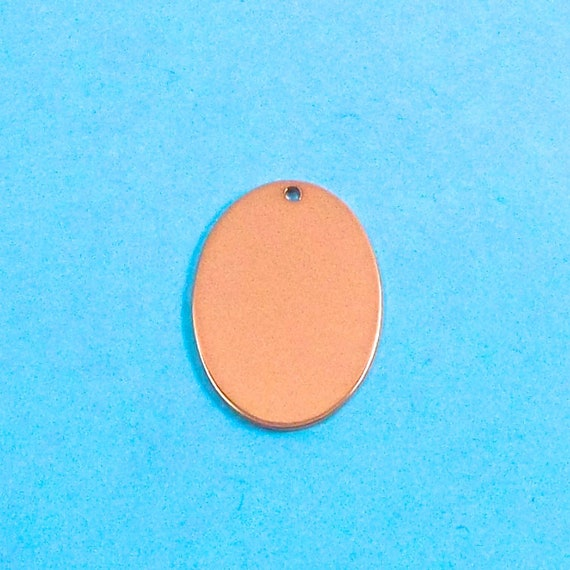 """10 Copper Oval Blanks 3/4"""" x 1-18"""" 18 Gauge Metal Stamping Blanks 1.5mm Hole at top Tumble Polished - By ImpressArt Made in USA"""