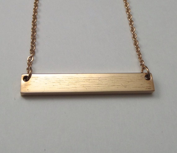 "1 Set Rose Gold Plated Bar Necklace Surgical Steel Blank 32mm x 5mm Polished 12 Gauge Thick 18"" Chain - Use 2.5mm Stamps"
