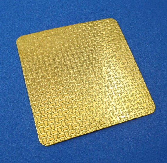 "Small Basket Weave Rolling Mill Texture Plate Pattern 2.5"" x 2.5"" Brass Texture Plates 24 Gauge Thick"