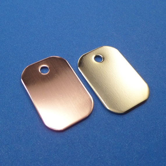 4 Blanks Small Tags Copper 1-1/2 by 7/8 Inches 18 Gauge Thick with 3mm Hole Polished