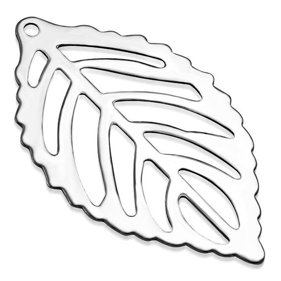 Cut Leaf Charm 6 Tiny Charms 316L Surgical Steel 2.30 x 1.40cm (0.90 x 0.55 inch)  Stainless Steel