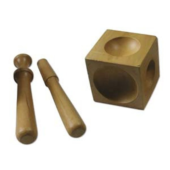 Beadsmith Wood Doming Block Dapping Block - Use to Curve Discs - 6 different sides - 2 Wood Punches