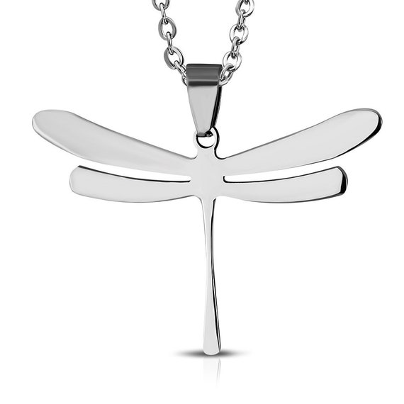 """5 Dragonfly Charm Pendant Surgical Steel Charm Pendant 1-3/8"""" x 1"""" (35mm x 25mm) Stainless Flat Engravable 316L"""