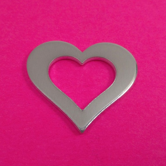"10 Heart Washer Charm 14 Gauge 1.15"" x 1.25"" 3003 Commercially Pure Aluminum - Made in USA"