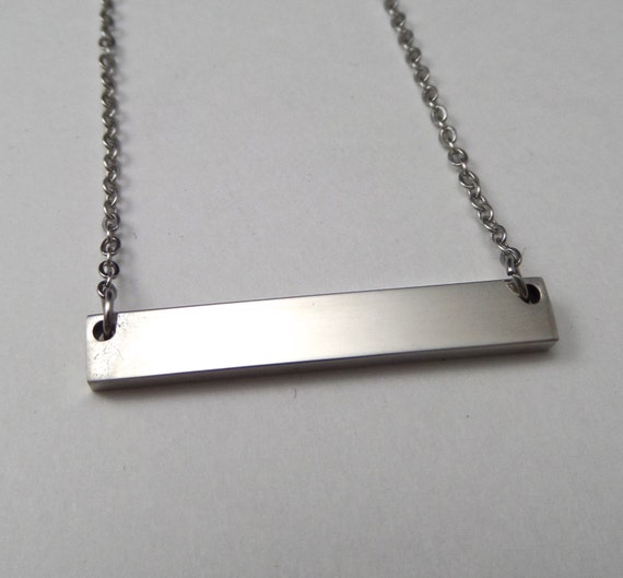 "2 - Surgical Steel Blank Bar Necklace 32mm x 5mm Polished 12 Gauge Thick 18"" Chain - Use 2.5mm Stamps stainless steel"
