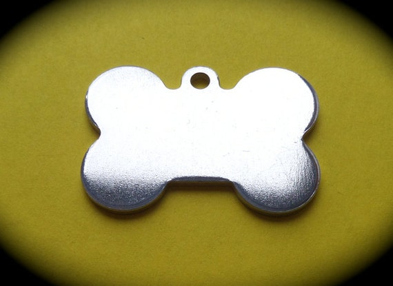 "1 Blank 1-3/8 "" x 1"" Dog Bone Charms 14 Gauge Thick with 3mm Hanging Loop Pure Food Safe Aluminum - Made in USA"