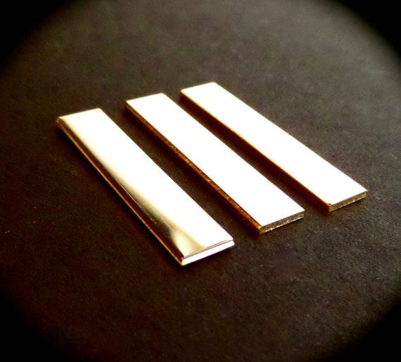 "3 BLANKS 1/4"" x 1-1/2"" Sterling 18 Gauge Polished or Unfinished RAW Rectangles Made in USA"