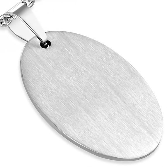 """5 Blanks Surgical Steel Charm Pendant 1-3/8"""" x 1"""" (35mm x 25mm) Stainless Steel Flat Engravable 316L"""