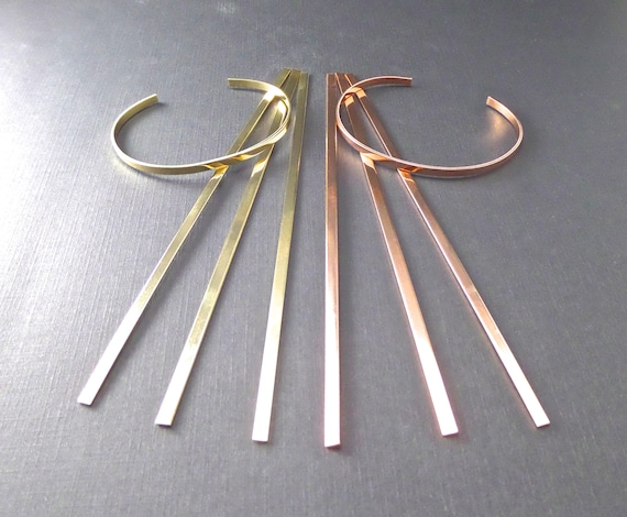 "6 COPPER or Jeweler's BRASS 1/8"" x 6"" Inch 18 Gauge Cuffs Tumble Polished or RAW Bracelet Metal Stamping Blanks  - 6 Cuffs - Flat"