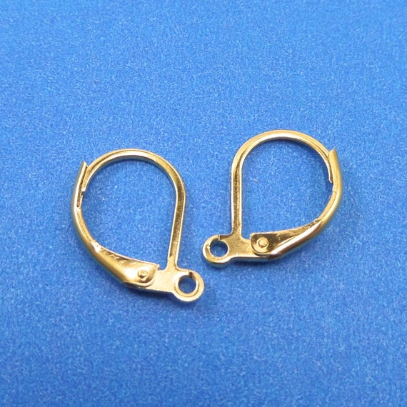 Gold Color Steel Lever Back Earrings 5 Pair Stainless Steel 15.5 x 10 x 1.5mm with 1.5mm Hole - Lead Free