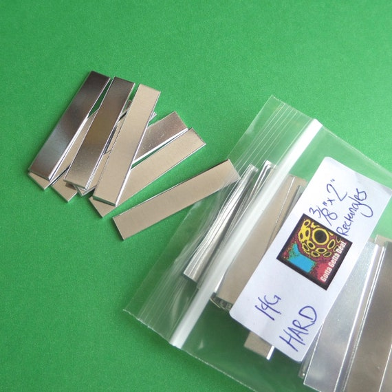 "DEALS - 190 Blanks 3/8"" x 2"" Rectangle 14 Gauge 1100 Pure Aluminum Hard Temper Tumble Polished"