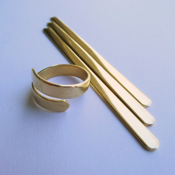 "10 Blanks 3/16""  x 3-1/4"" Wrap Ring Blanks Jeweler's Brass XL 18 Gauge US Size 7-9 Polished Blanks Rounded ENDS Will Arrive Flat"