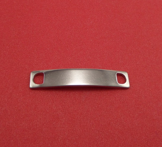 10 Steel ID Tag Blanks Stainless Steel Slightly Antiqued 38.5 x 7 x 1mm with 4.5 x 2mm Hole - Lead Free