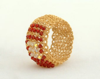 CARMEN, Ring, gold filled, red and clear crystals