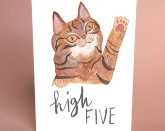 High Five cute tabby cat -  A6 greetings card by Fernandes Makes