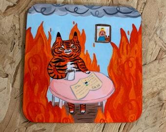 This is fine Tiger Meme - Coaster - Funny Meme Household Gift, Tiger Illustration, Funny, Unique, Housewarming Gift, Stocking Filler
