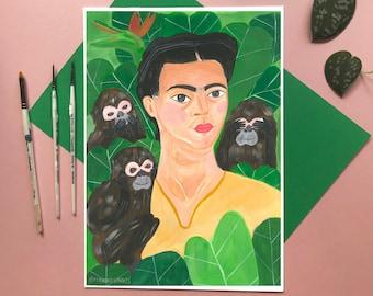 Frida Kahlo Inspired Art Print - Three Monkeys See No Evil - Acrylic Painting Print, Botanical Illustration, Monkey Illustration, Nature Art