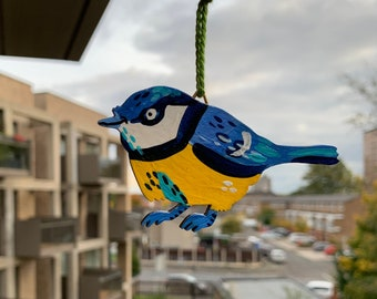 BLUE TIT Small hanging wooden hand painted