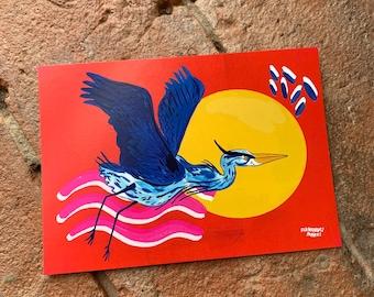 Heron flying into the sunset Japanese inspired art postcard A6 / mini art print