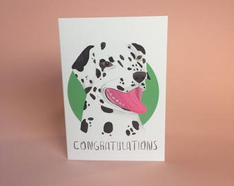 Congratulations happy pup Dalmatian dog card for excited doggo lovers