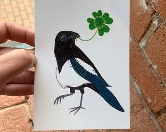 Lucky Magpie with four leaf clover, wild bird illustration - A6 postcard, Mini art print