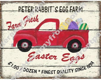Pickup Truck Easter Egg Printable Print Instant Download Sign Ad Labels Tags Greeting Cards Modern Farmhouse