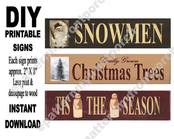 printable signs sheet print decoupage to wood wooden etsy