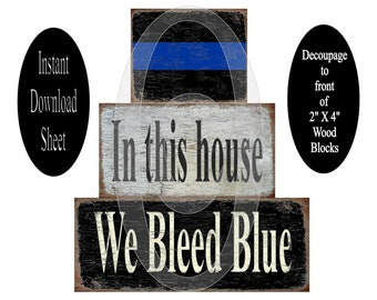 Printable Blue Line 2X4 Decoupage Wood Blocks Sheet , Bleed Blue , Instant Download , Wooden Stackable , Digital , DIY , Retro , Police Cop
