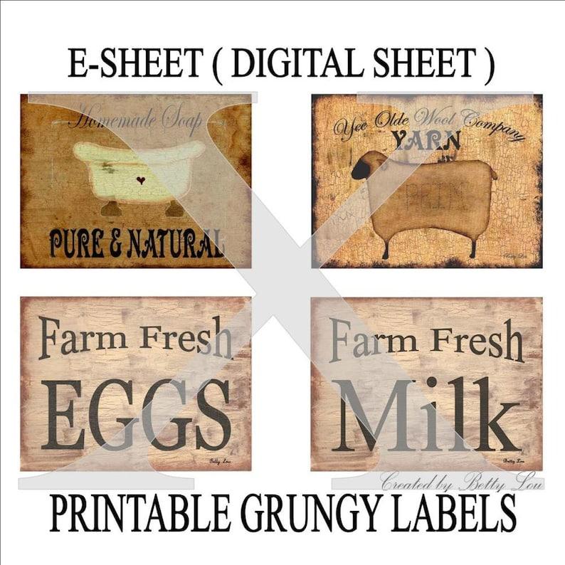 Etiketten Druck Primitive Download Schafe Eier Milch Seife Für Speisekammer Gläser Dosen Flaschen Kisten Boxen Crocks Eisen Auf übertragung