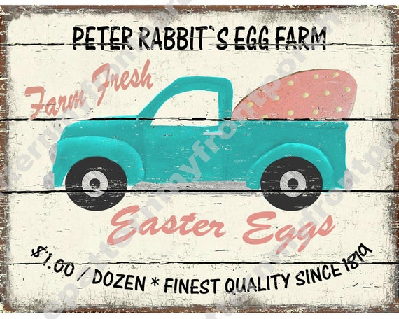 Pickup Truck Easter Egg Printable Print Instant Download