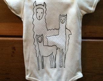 Baby Bodysuit Llama Family Organic Cotton Natural