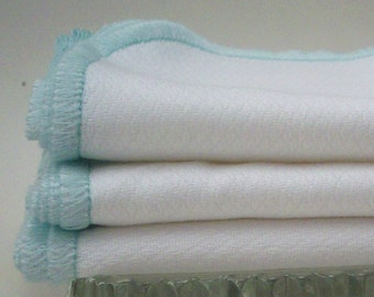 Reusable Cotton Wipes - Mint Green Bordered Paperless Towels - 18 Pack