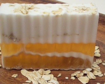 Goat Milk, Honey and Oatmeal Unscented Soap - Natural Layered Sensitive Skin Soap