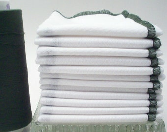 Unpaper Towels - Reusable Kitchen Towels - Dark Olive / Kale Green Bordered Birdseye Cotton Towels - Reusable Napkins - Eco Friendly Clean