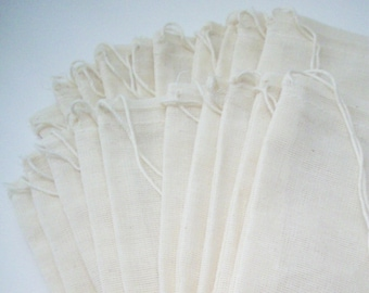 Muslin Bags - 20 pack 3 X 5 Fabric Gift and Storage Bags - Jewelry Packaging, Bead Storage
