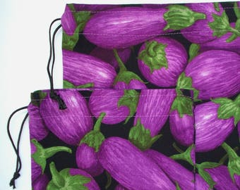 Bulk Bin Bags - Purple Eggplant Print - Set of 2 Reusable Cotton Produce or Gift Bags - Drawstring Root Veggie Storage