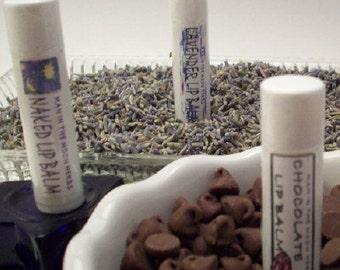 Lip Balm - 3 Tubes of Decadent Indulgences - Chocolate Lavender Naked