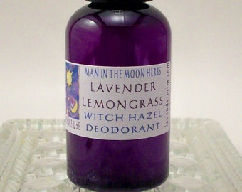 Lavender Lemongrass Natural Spray Deodorant with no Baking Soda - Quick Drying Witch Hazel Deo - Natural Bath and Body