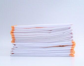 Reusable Paper Towel Substitute - Papaya Melon Orange Bordered Paperless Towels