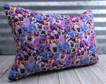 Pansy Print Buckwheat Throw Pillow - With or Without Lavender