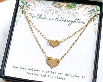 Simple Gold Heart Necklace Set- Mother and Daughter gift