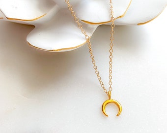 Petite Half Moon Crescent Necklace