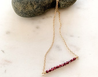 Gemstone Bar Necklace- Many colors available!