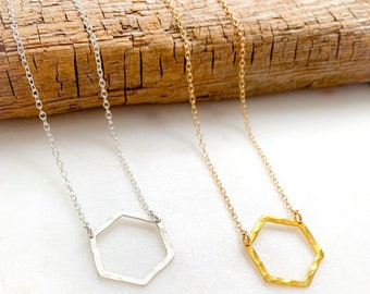 Hammered Hexagon Necklace