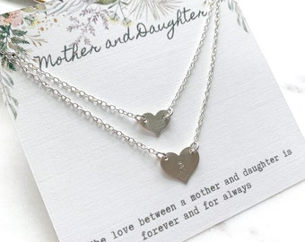 Sterling Silver Mother and Daughter Heart Necklace Set